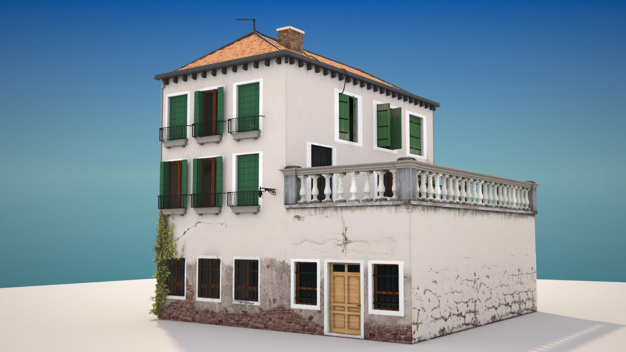3d model italian old home for Classic italian house