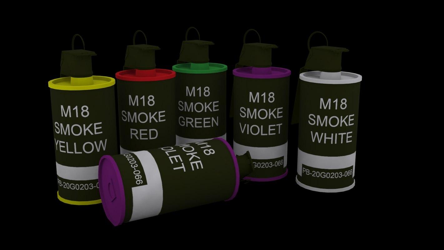 3d model m-18 smoke grenade