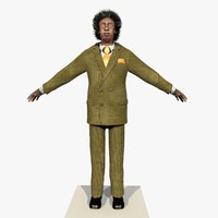 Rigged Businessman African American Tan Suit With Alpha Hair 2