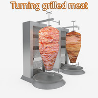 Turning grilled meat kebab