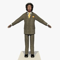 Rigged Businessman African American Grey Suit With Alpha Hair 2