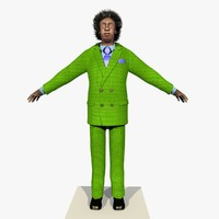 Rigged Businessman African American Yellow Suit With Alpha Hair 2