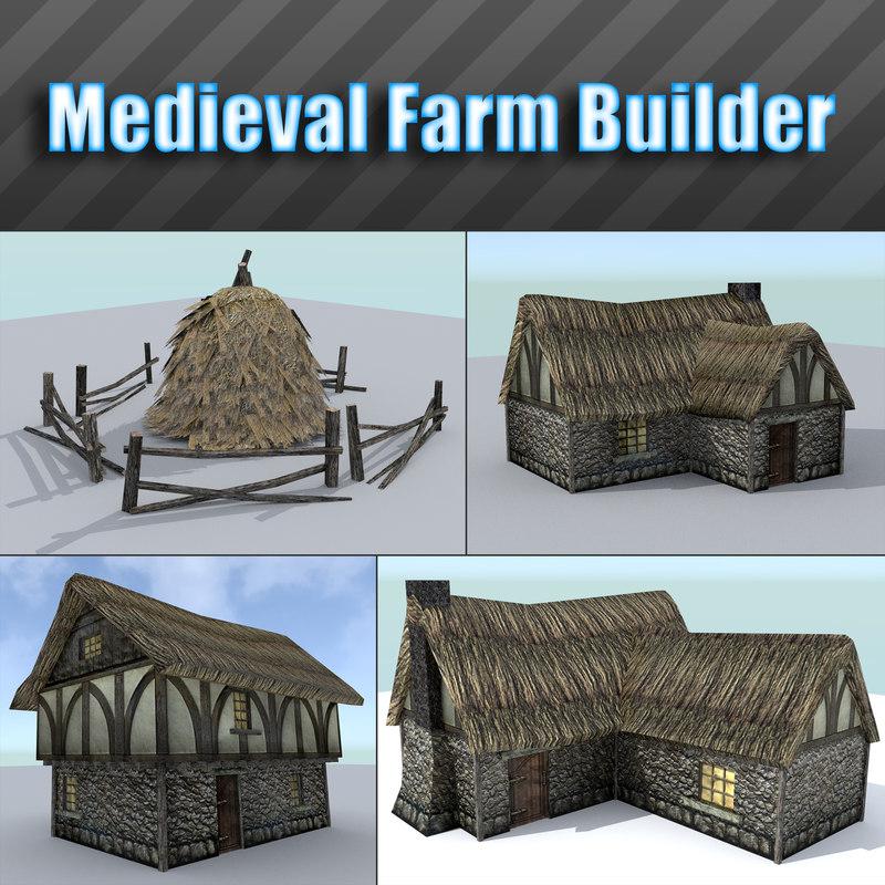 medieval farm building houses obj