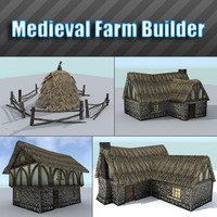medieval farm building houses obj