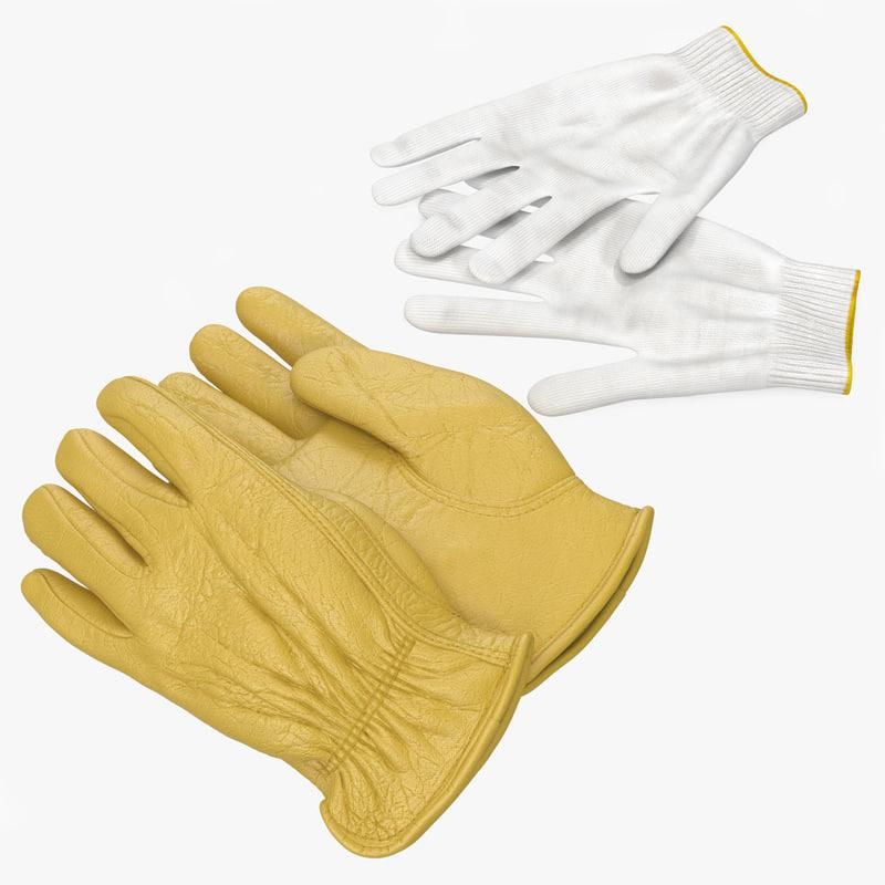 3d work gloves model