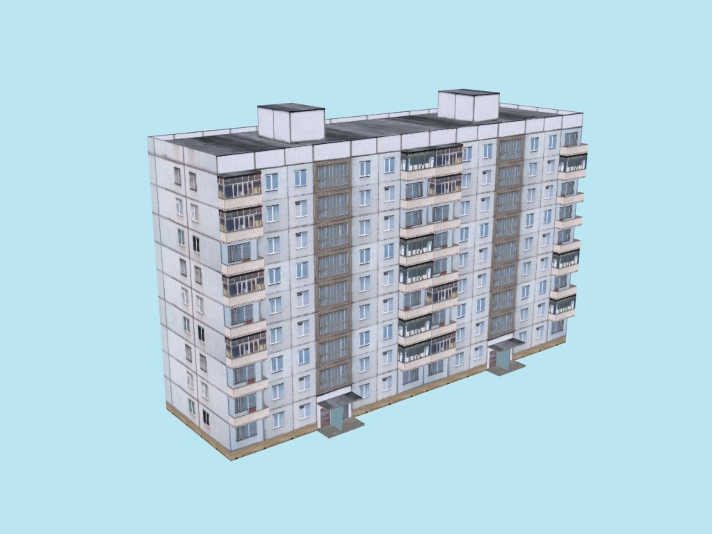 3ds max typical soviet 9-storey house