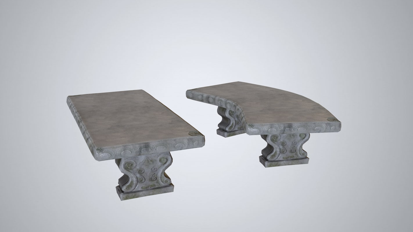 concrete bench 3d obj