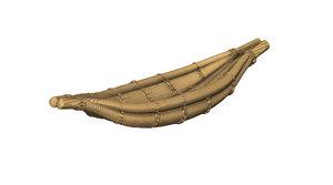 3d native tule reed canoe model