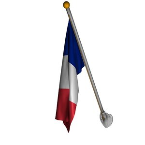 french flag pole 3d c4d