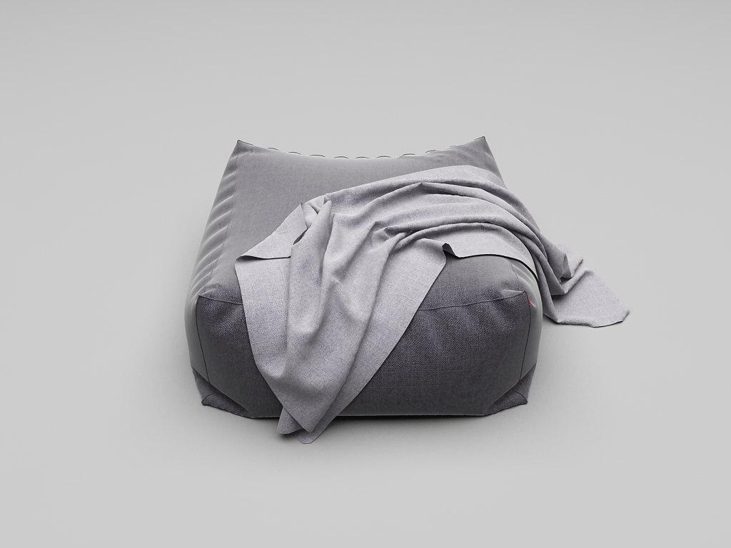 pouffe fabric 3d max