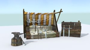 medieval weapons stall 3d model