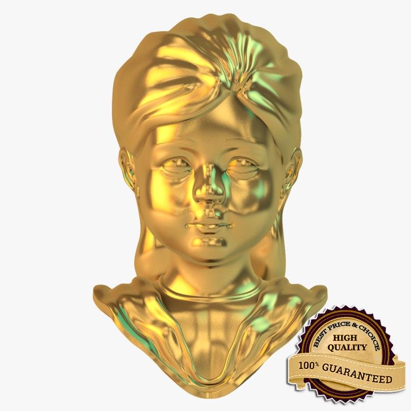 3d golden girl statue model