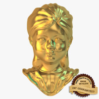 3d golden girl statue model