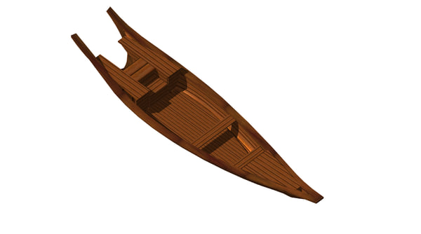 3d chinese sampan fishing boat model