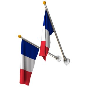 french flags set pole 3d c4d