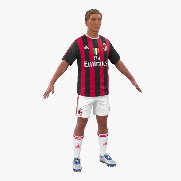 3d model soccer player milan hair