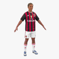 soccer player milan hair 3d model
