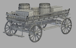 3d model wagon old wood