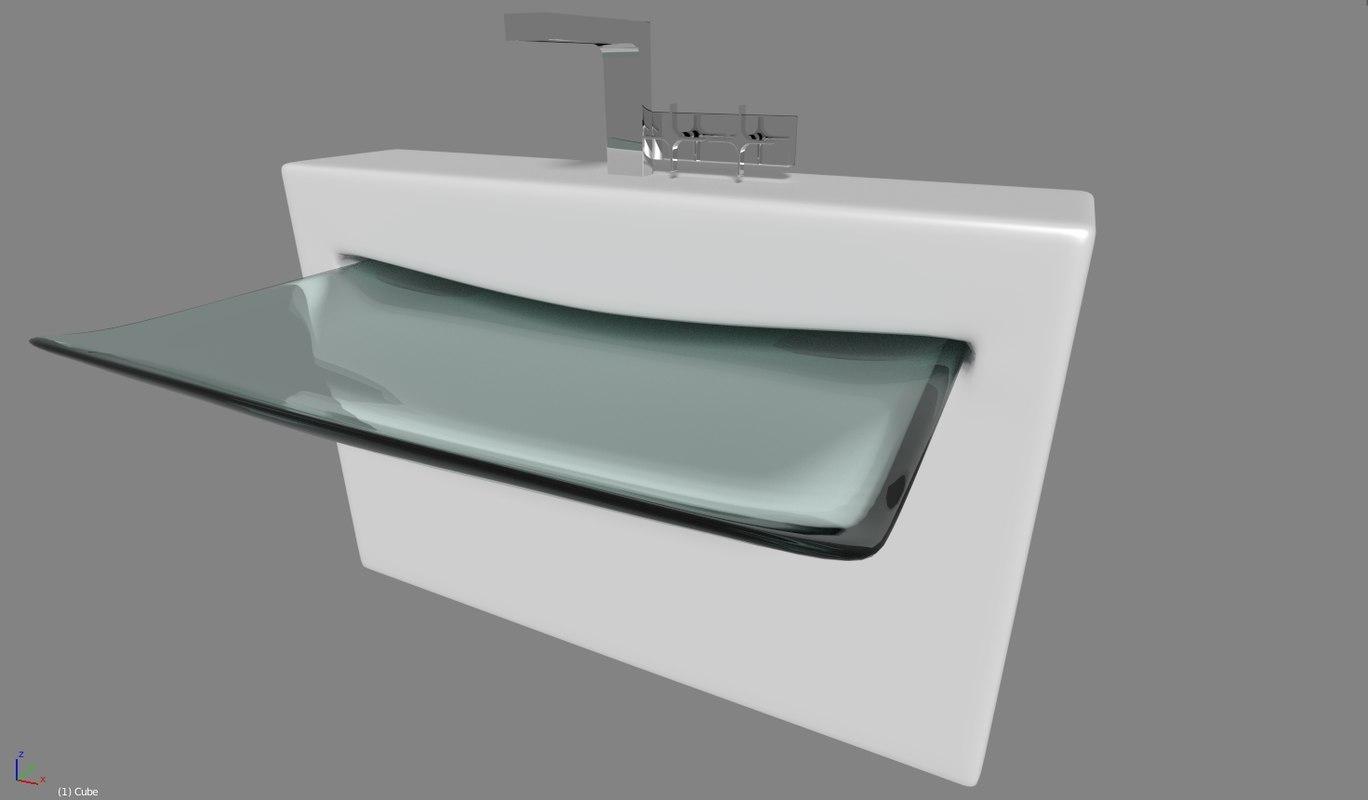 3d modern sink tap bathroom model