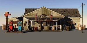 old gas station 3d model