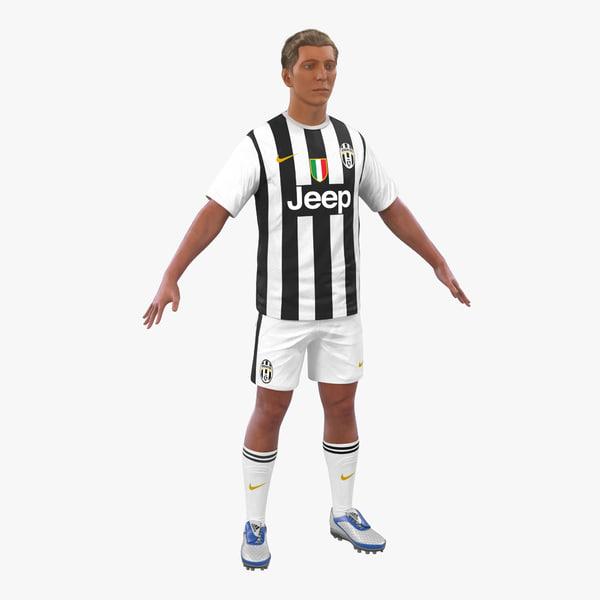 3d model soccer player juventus hair