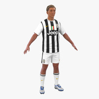 3d model soccer player juventus hair