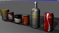 low poly bottle can