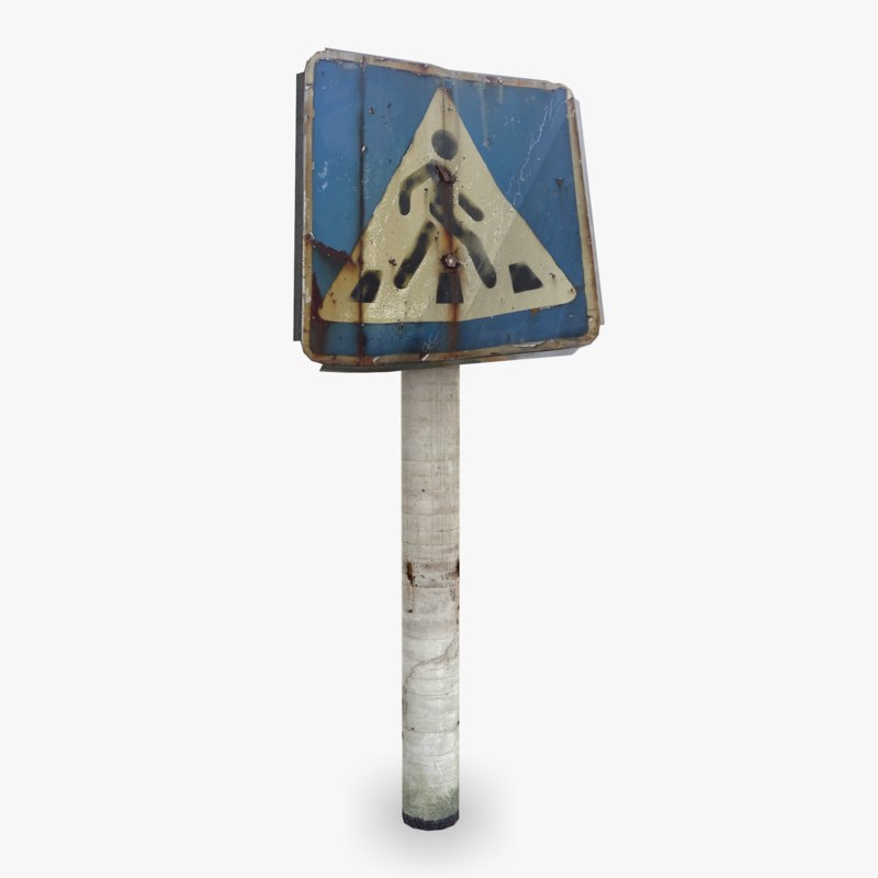 3d road walk sign model
