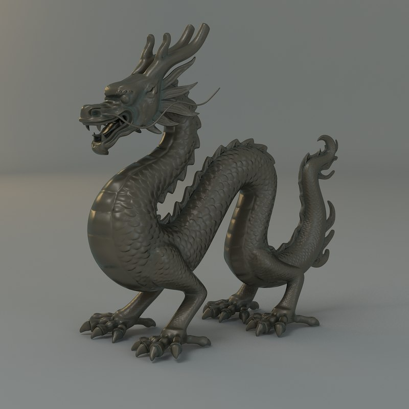3d ancient dragon statue model