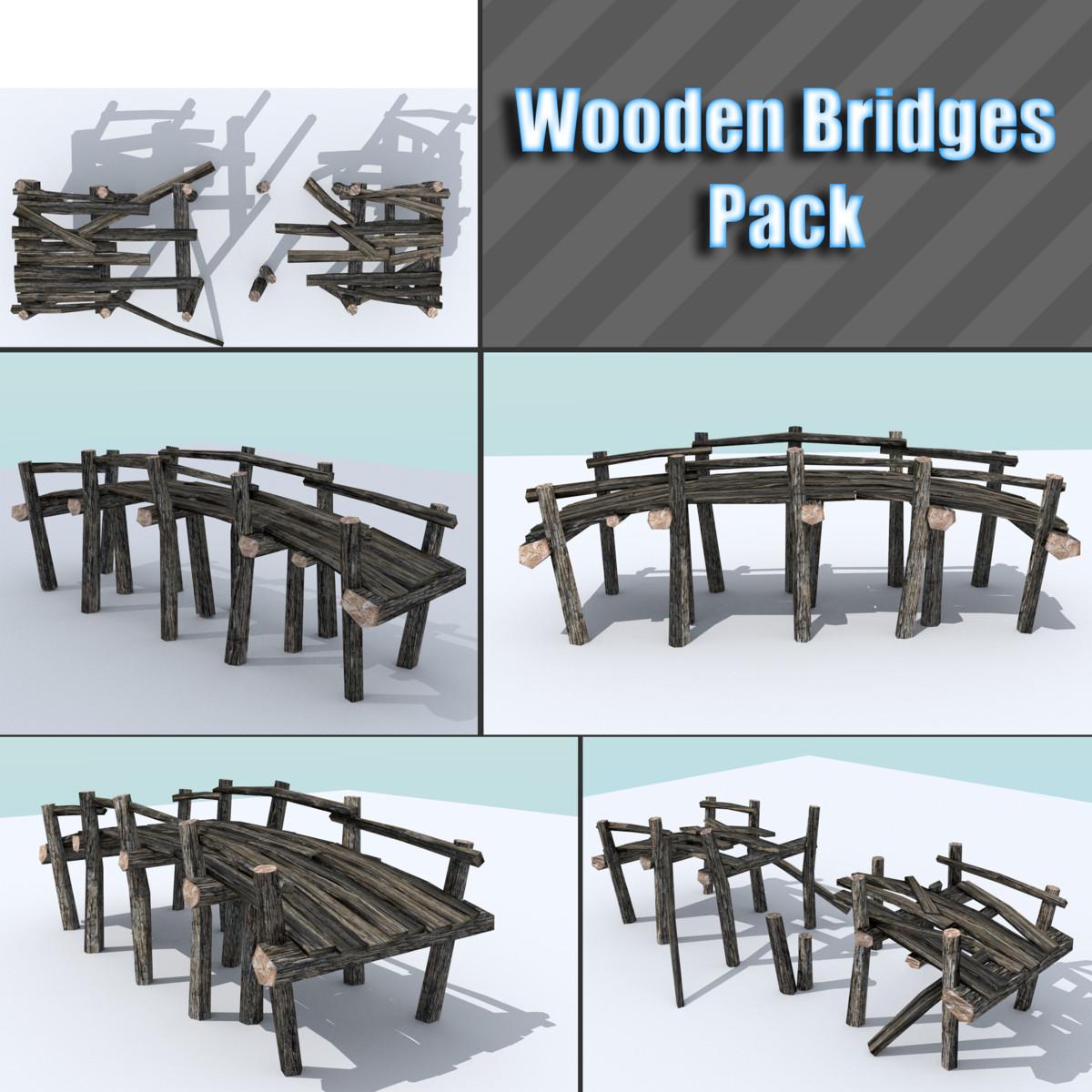 3d model of pack wooden bridge