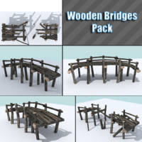 3d model of pack wooden bridge