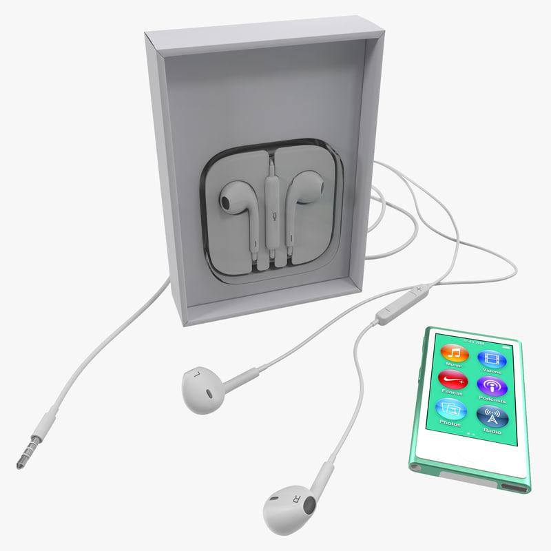 ipod nano green set 3d model