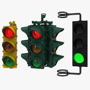 stop lights modeled c4d