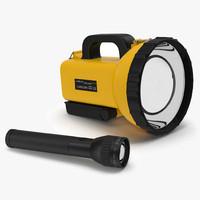 flashlights set spotlight 3d model