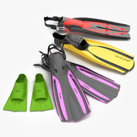 3d model of swim fins