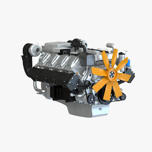 truck v8 diesel engine 3d 3ds