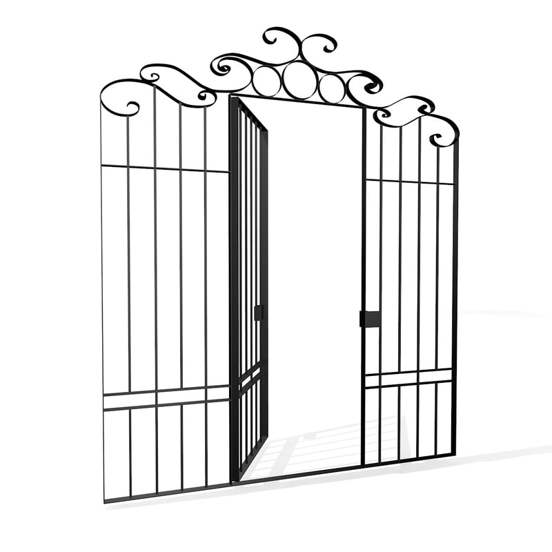 3ds iron fence gate