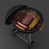 Kettle Barbecue Grill low poly