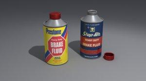 cone brake fluid labels 3d model