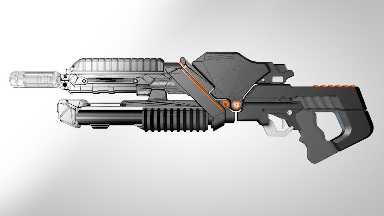 sci fi gun c4d