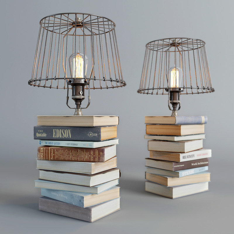 lamp books 3d model