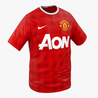 t-shirt manchester united modeled 3d model