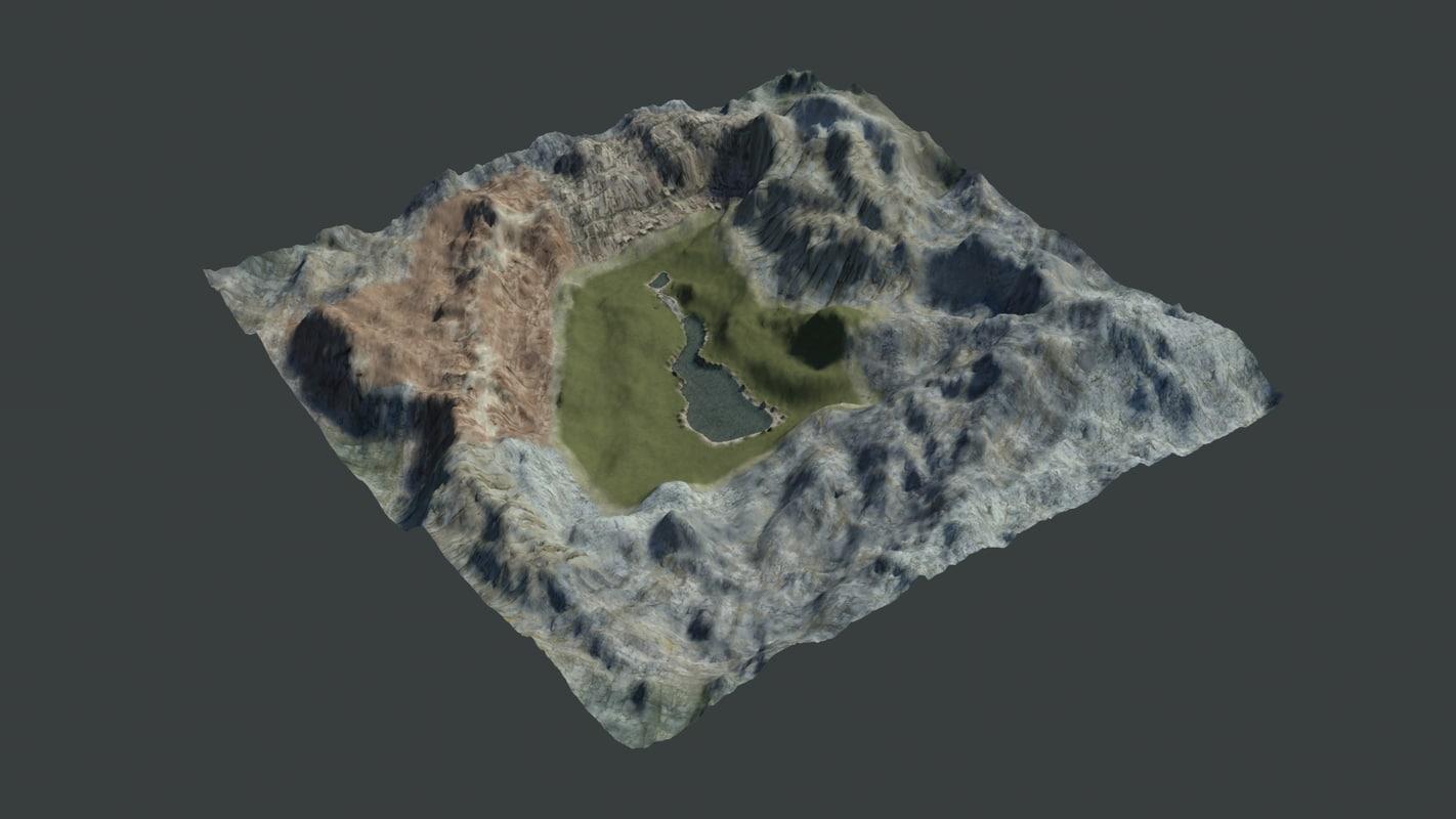 mountain scene 3d max