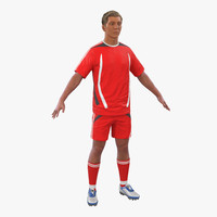 Soccer Player Generic with Hair 3D Model