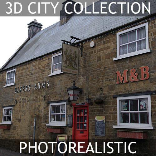 3d english village pub model