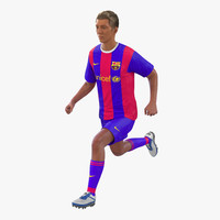 soccer player barcelona rigged 3d model