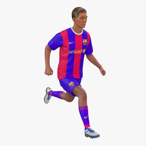 3d soccer player barcelona rigged