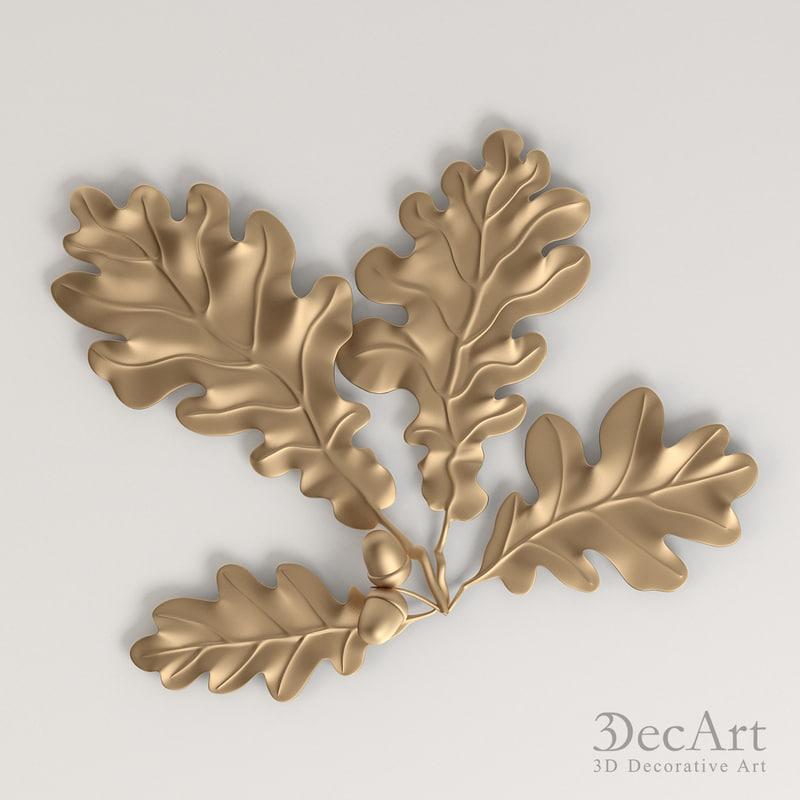 3d obj oak leaves