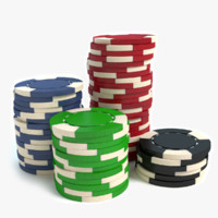 poker chips 3d obj