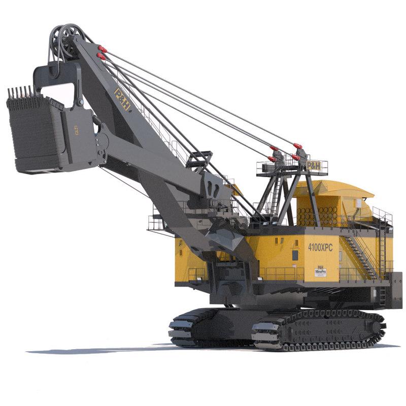 3d model rope shovel p h